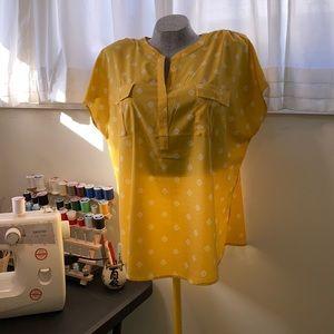 Cap sleeve Jaclyn Smith print blouse